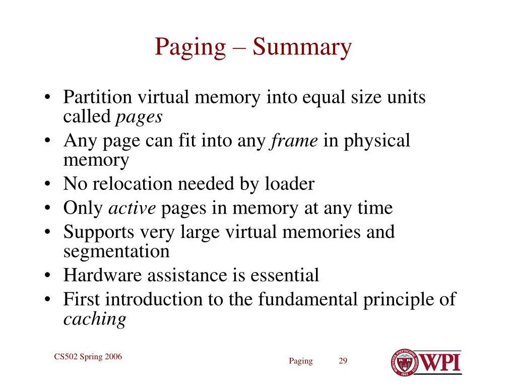 Paging – Summary