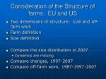 consideration of the structure of farms eu and us