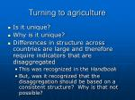 turning to agriculture