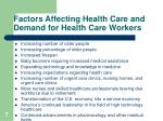 factors affecting health care and demand for health care workers7