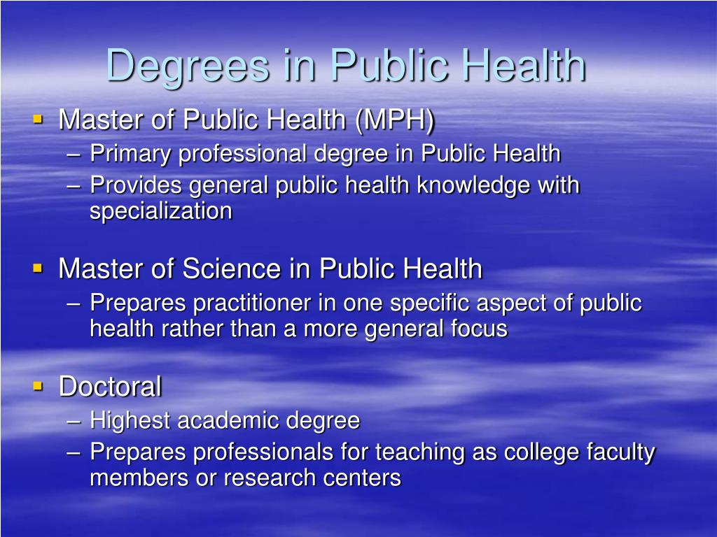 Degrees in Public Health