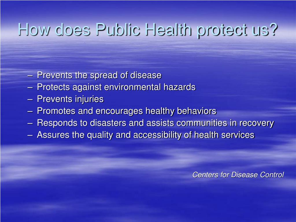 How does Public Health protect us?