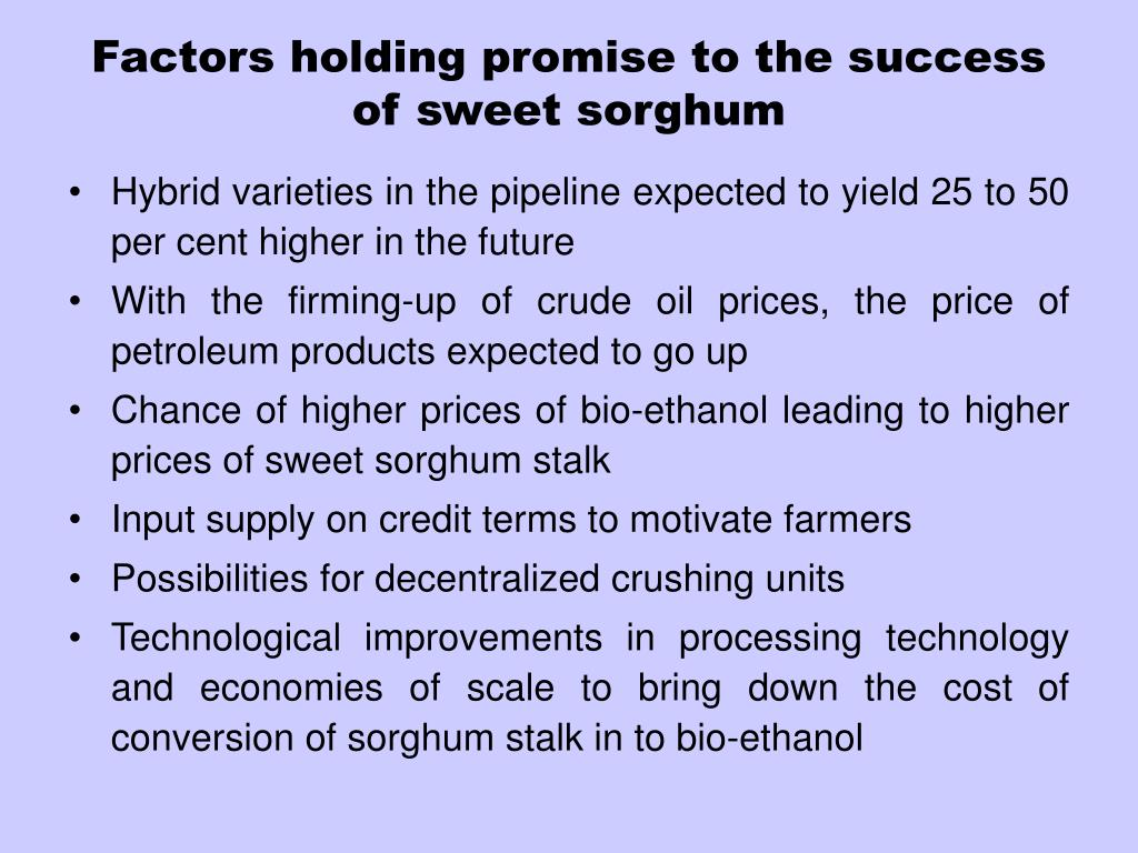 Factors holding promise to the success of sweet sorghum