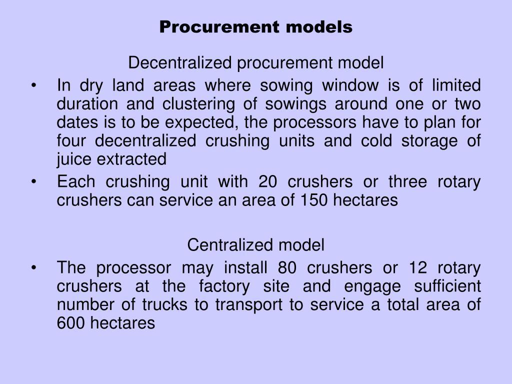 Procurement models