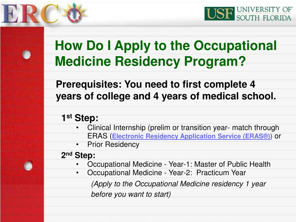 How Do I Apply to the Occupational Medicine Residency Program?