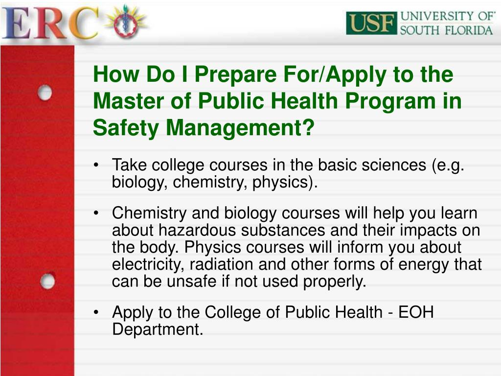 How Do I Prepare For/Apply to the Master of Public Health Program in Safety Management?