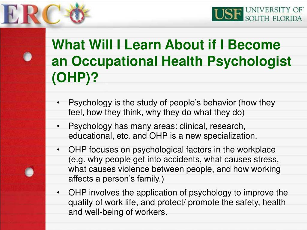 What Will I Learn About if I Become an Occupational Health Psychologist (OHP)?