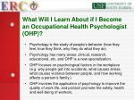 what will i learn about if i become an occupational health psychologist ohp