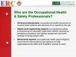 who are the occupational health safety professionals