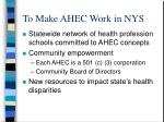 to make ahec work in nys