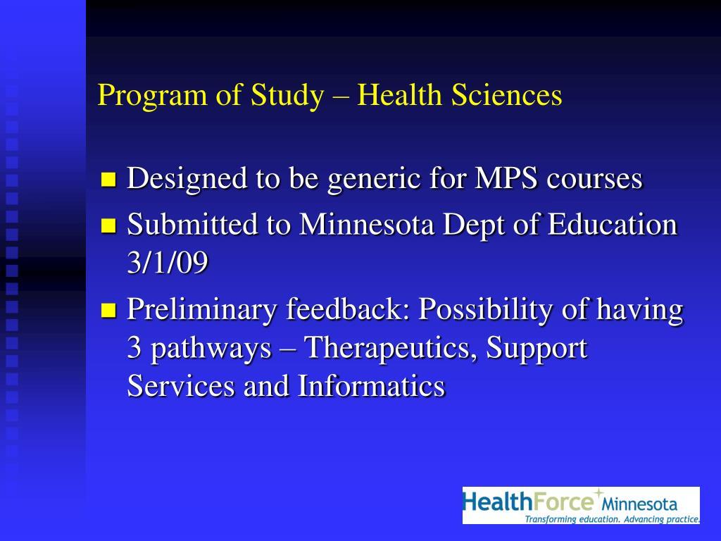 Program of Study – Health Sciences