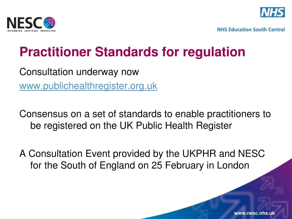 Practitioner Standards for regulation