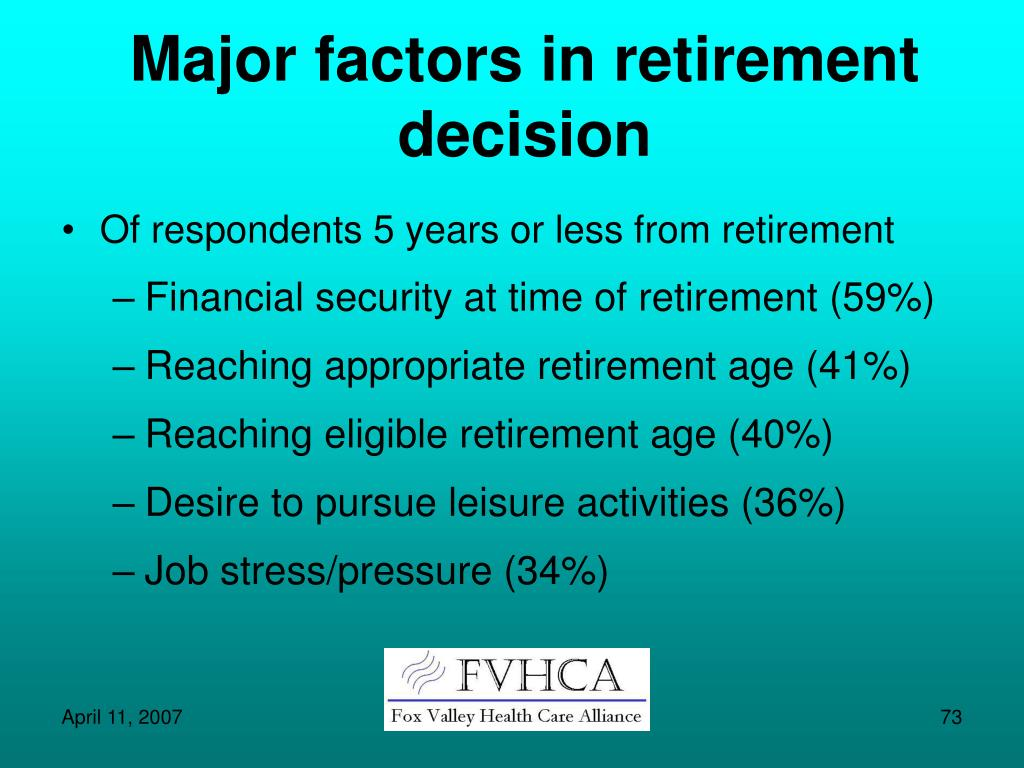 Major factors in retirement decision