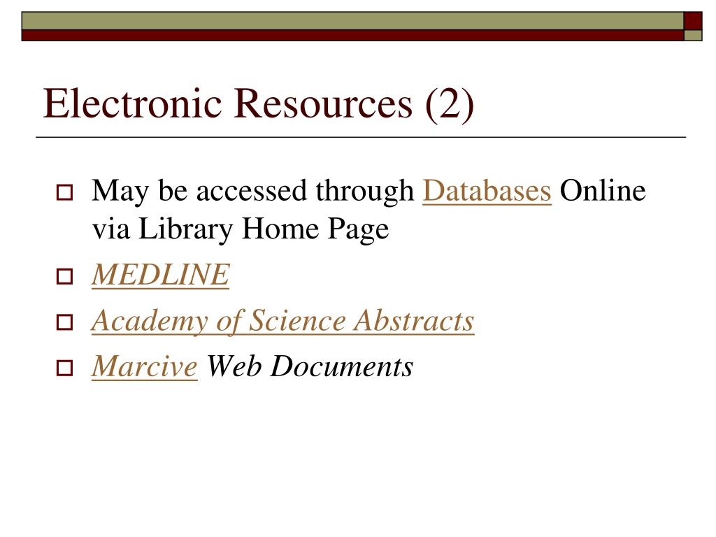Electronic Resources (2)