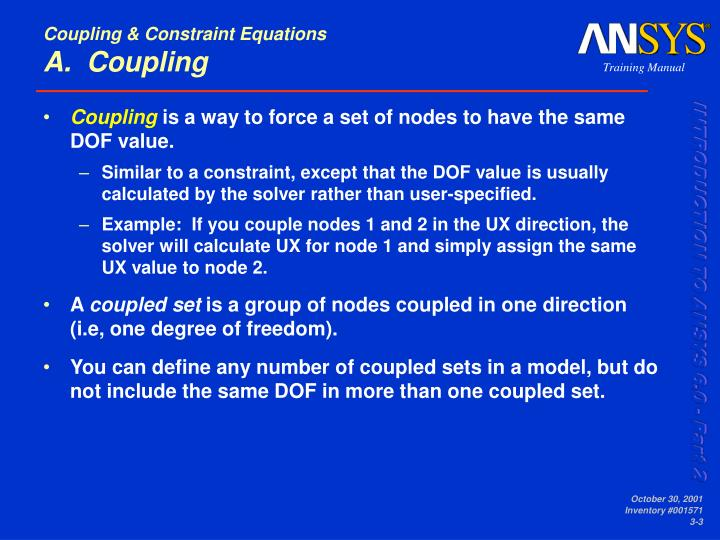 Coupling constraint equations a coupling
