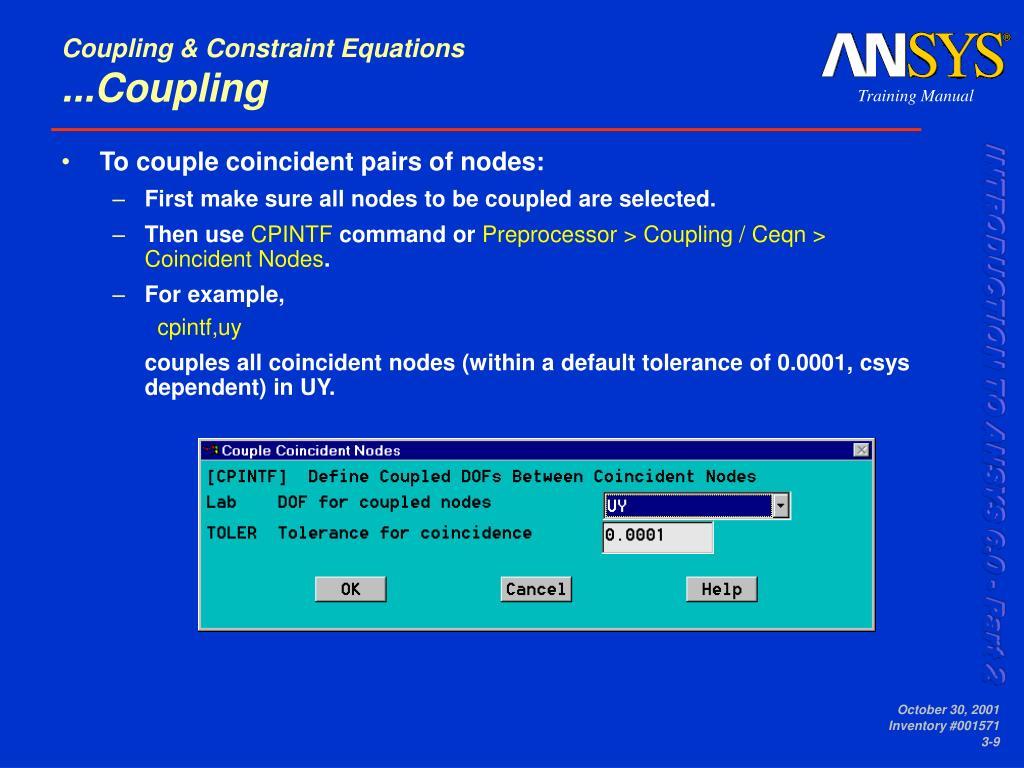 Coupling & Constraint Equations