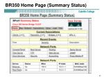 br350 home page summary status