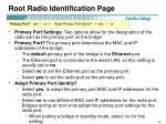 root radio identification page