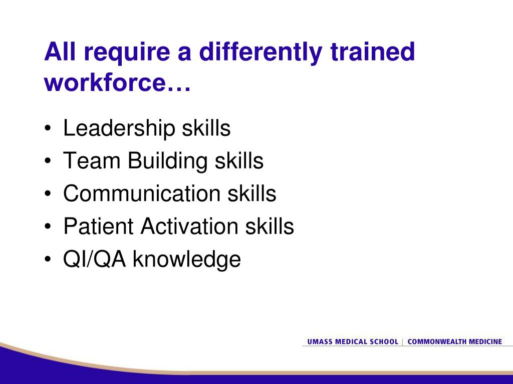 All require a differently trained workforce…