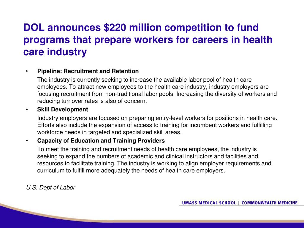DOL announces $220 million competition to fund programs that prepare workers for careers in health care industry