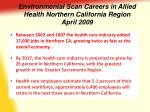 environmental scan careers in allied health northern california region april 2009
