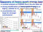 discovery of heavy quark energy loss