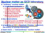 nuclear matter as qcd laboratory