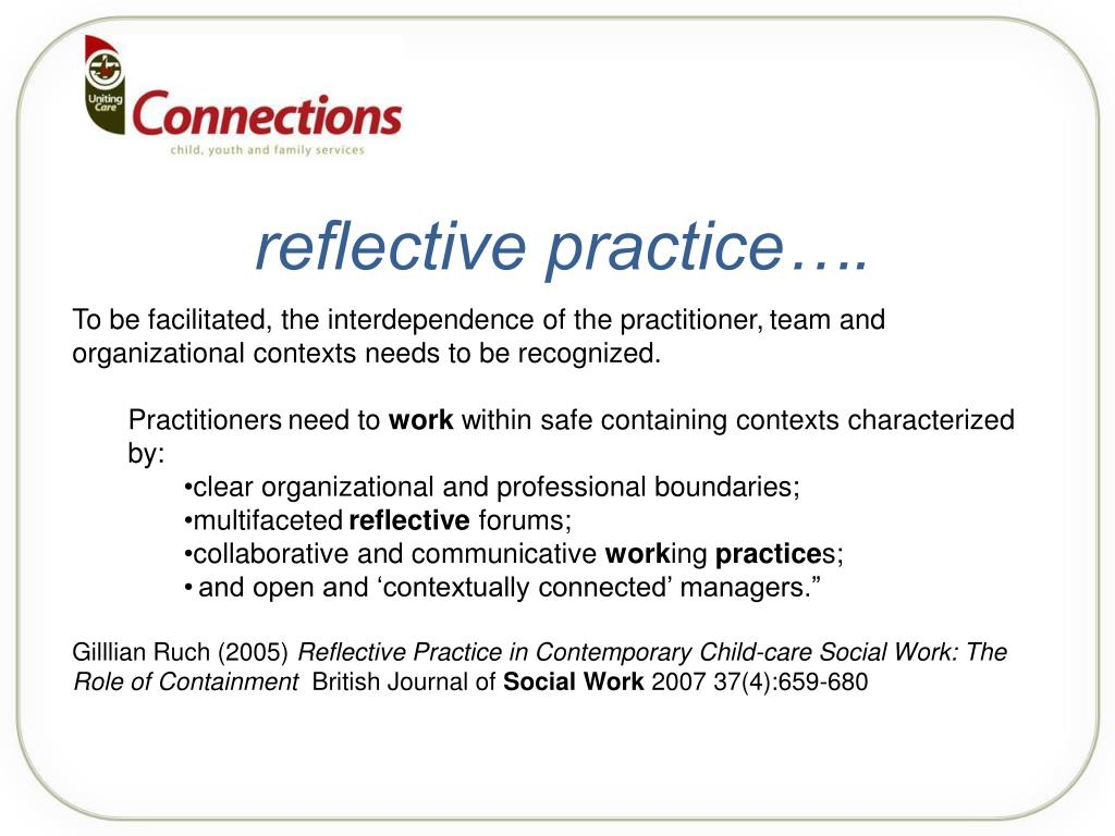 reflective practice in social work working Vodcastthere is no vodcast available for this chaptersage journal articlesdas, c and carter anand, j (2012) strategies for critical reflection in international contexts for social work.