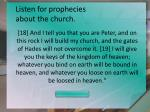 listen for prophecies about the church9