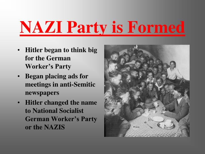 an introduction to the history of the national socialist german workers party National socialism or nazism, doctrines and policies of the national socialist german workers' party, which ruled germany under adolf hitler from 1933 to 1945 in german the party name was nationalsozialistische deutsche arbeiterpartei (nsdap) members were first called nazis as a derisive abbreviation.