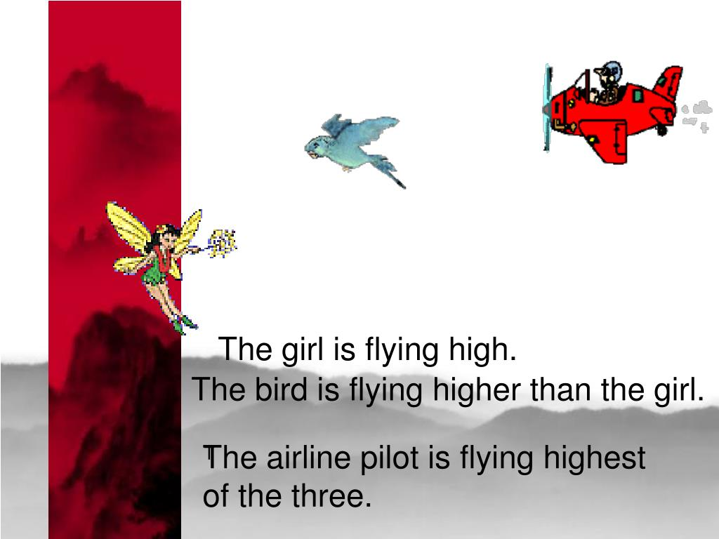 The girl is flying high.
