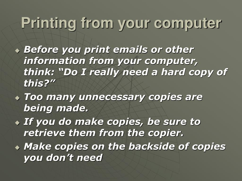 Printing from your computer
