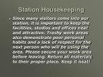 station housekeeping