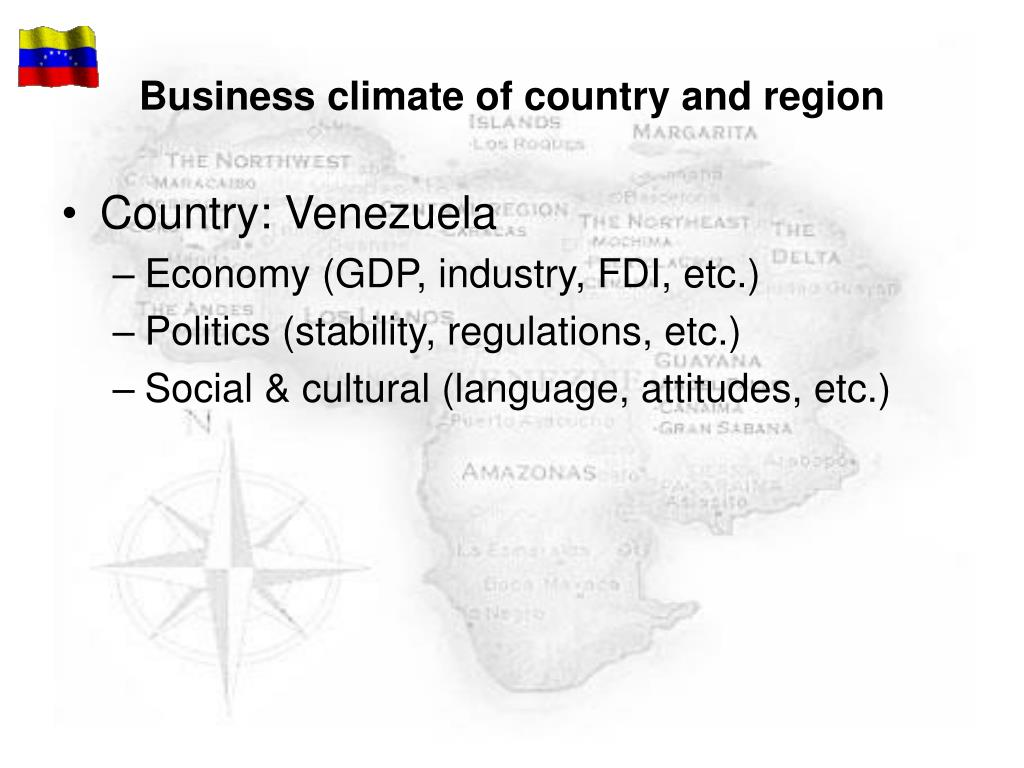 Business climate of country and region