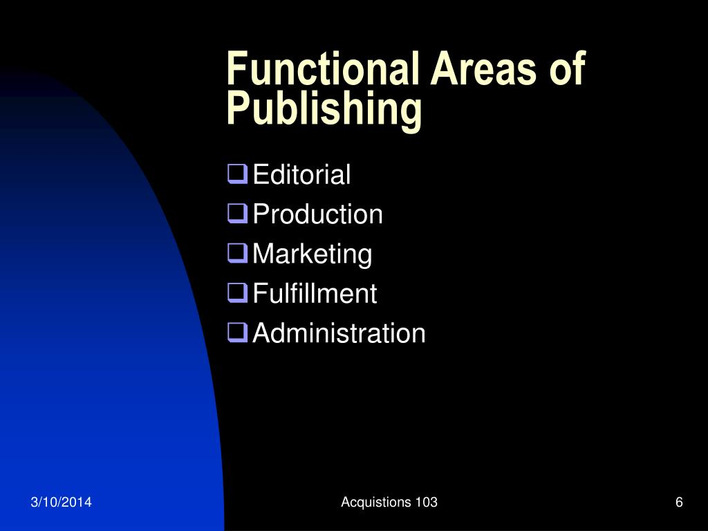 Functional Areas of Publishing
