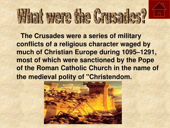 were the crusades political or religious? essay Home free essays the crusades this was more like a religious piety, because the real purpose was to real the great schism and put the eastern church under the control of the pope the crusader's main military weapon was the mounted knight this was a serious threat in any.