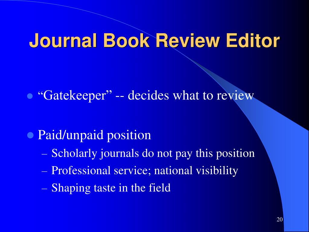 Journal Book Review Editor