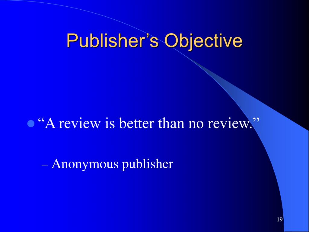 Publisher's Objective