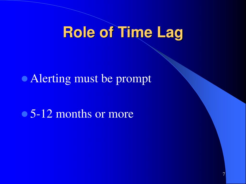 Role of Time Lag