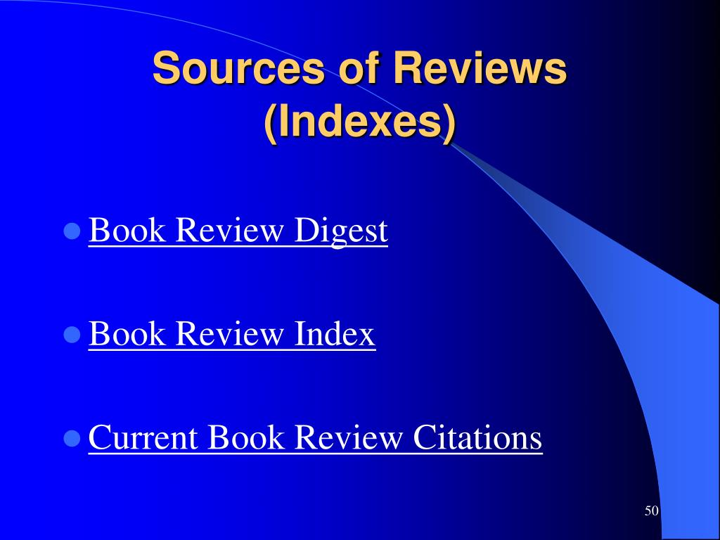Sources of Reviews (Indexes)