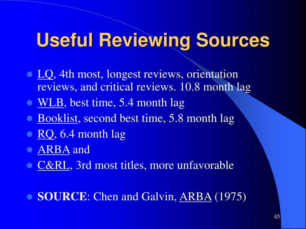 Useful Reviewing Sources