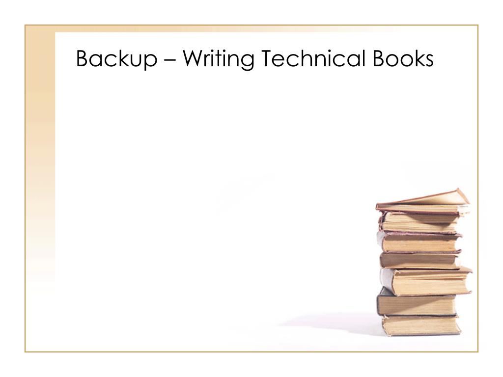 Backup – Writing Technical Books