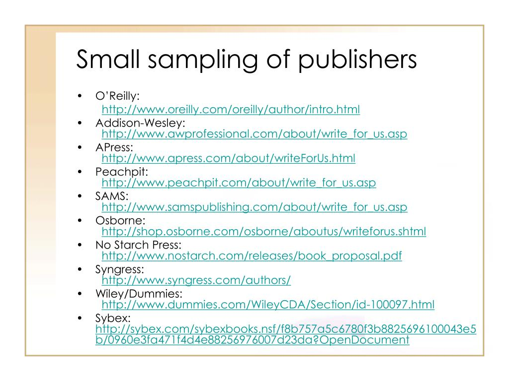 Small sampling of publishers