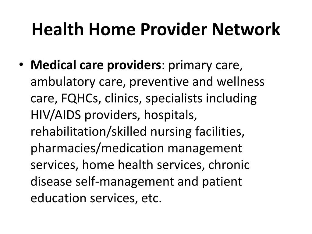 Health Home Provider Network