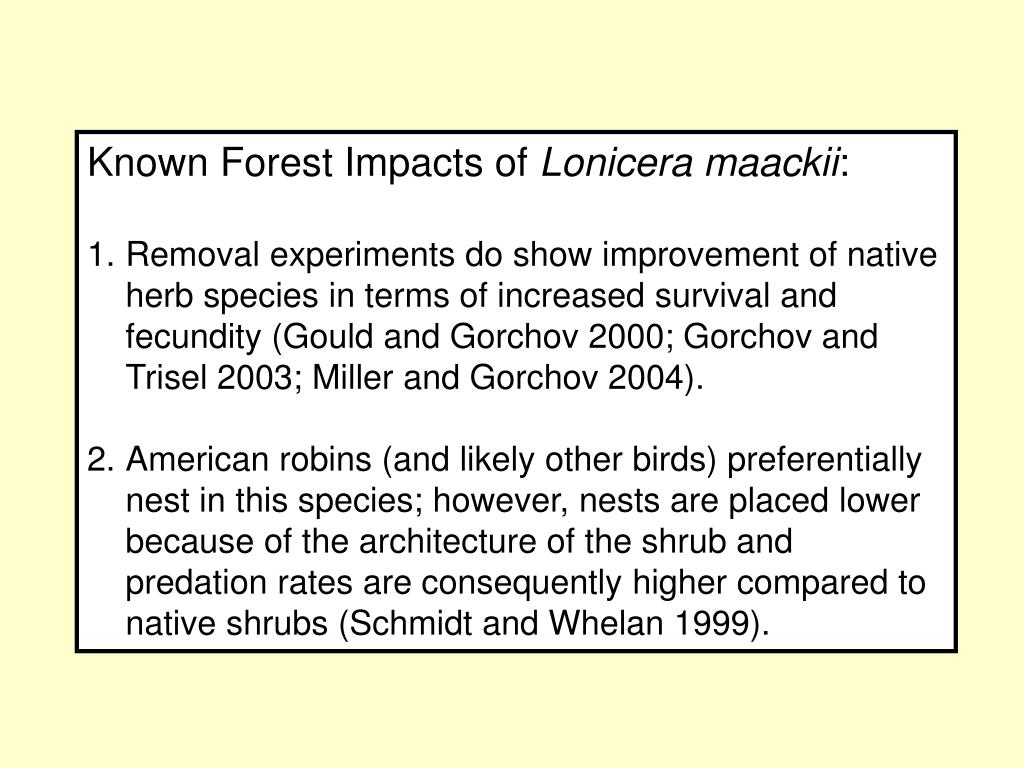 Known Forest Impacts of
