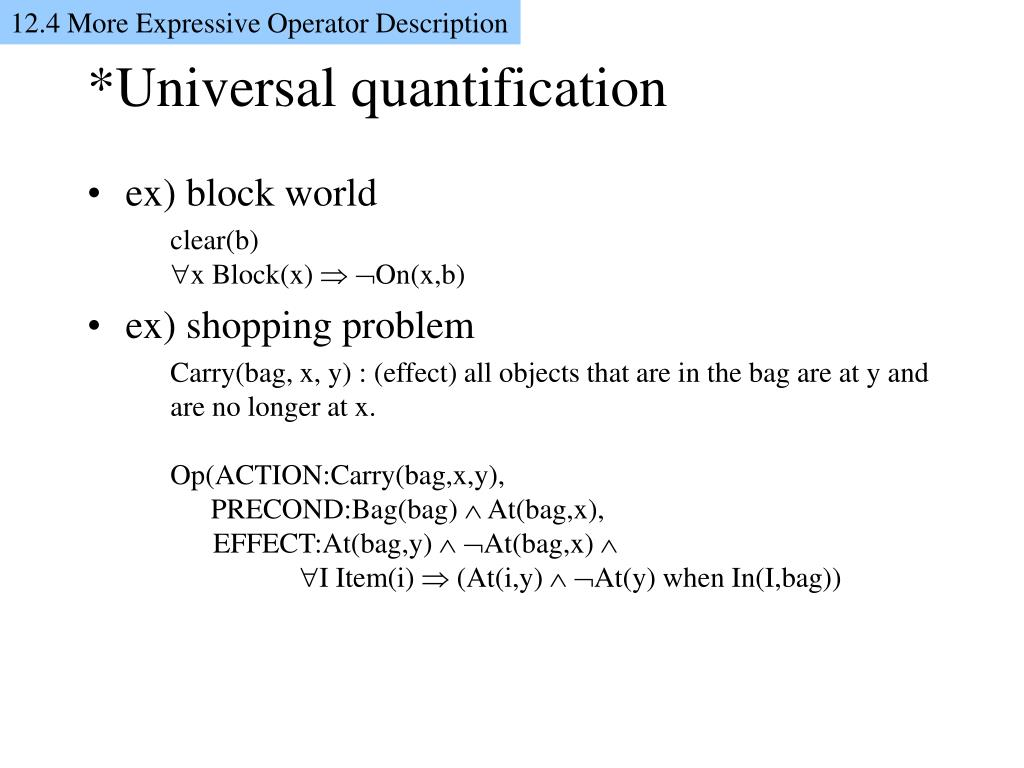 12.4 More Expressive Operator Description