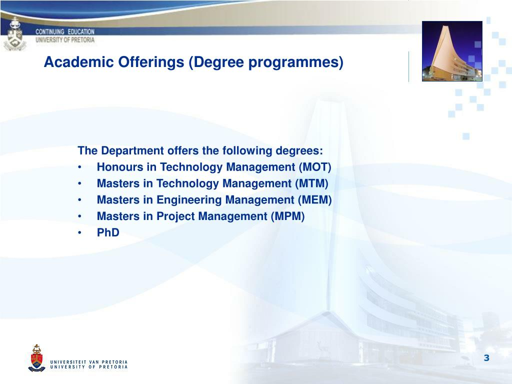 Academic Offerings (Degree programmes)