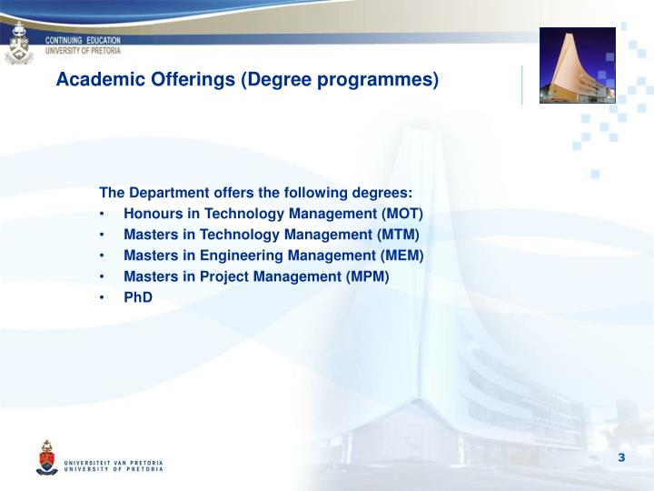 Academic offerings degree programmes