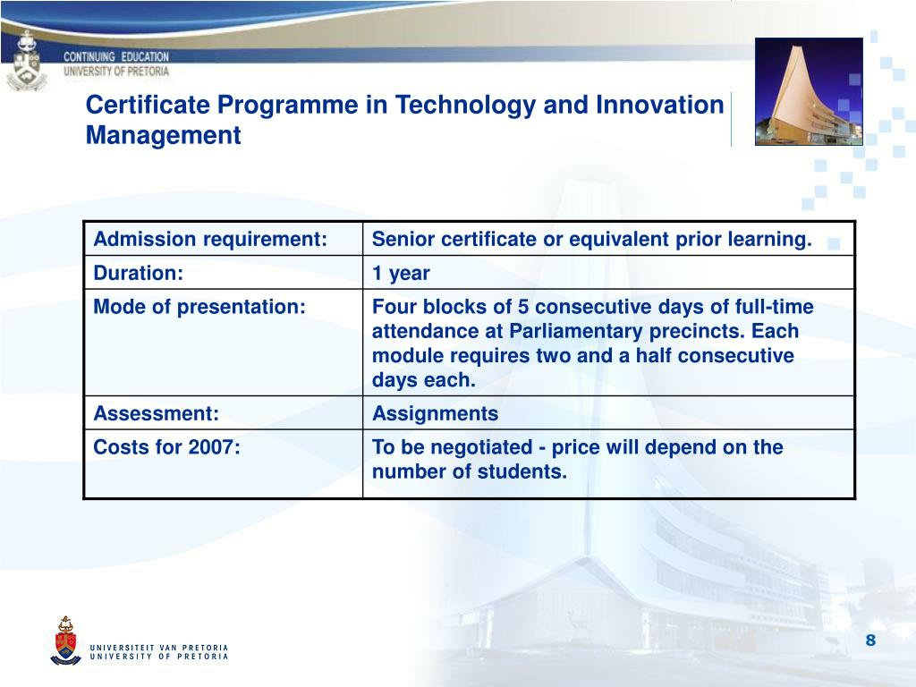 Certificate Programme in Technology and Innovation Management