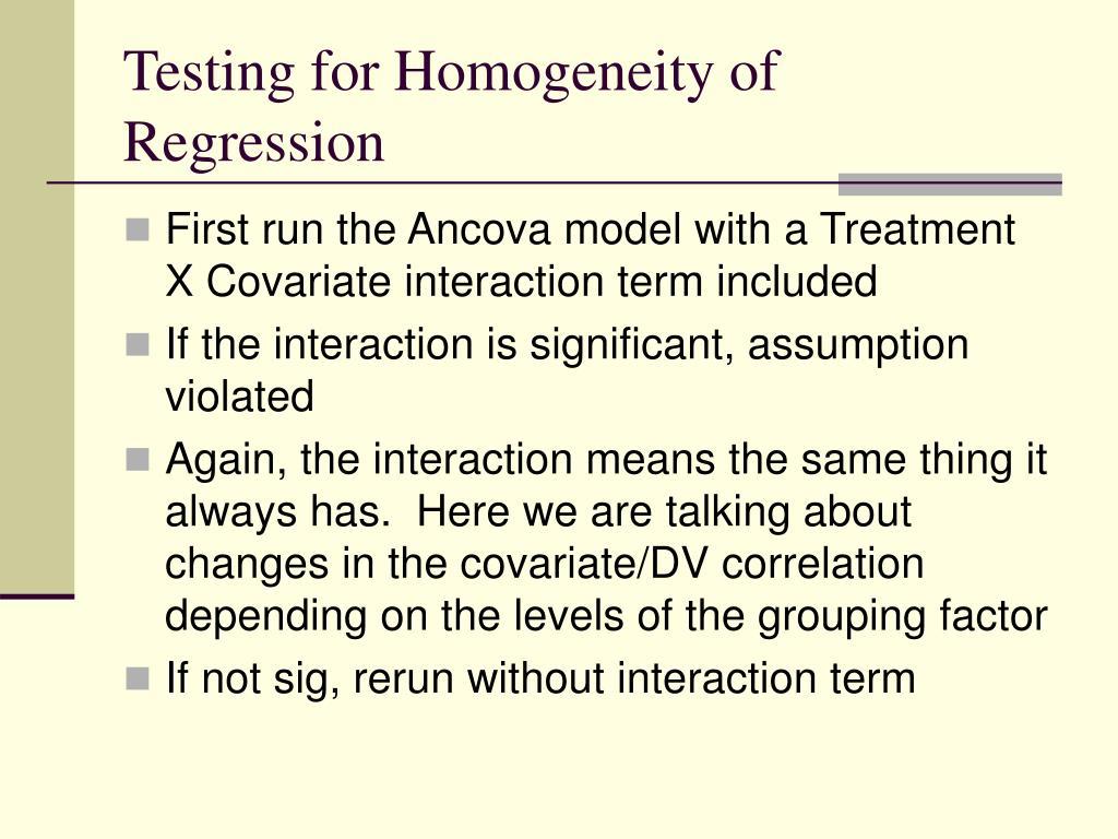 Testing for Homogeneity of Regression